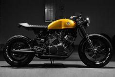 Yamaha XV750.  Another great bike with absolutely amazing presence.  Check out the link for more great shots.