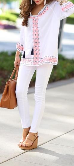 Embroidered tassel top // white pants  // Tory Burch Robinson tote