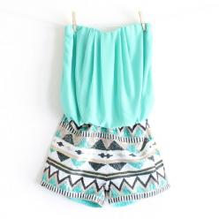 turquoise aztec print tribal sequin romper from shophearts.com