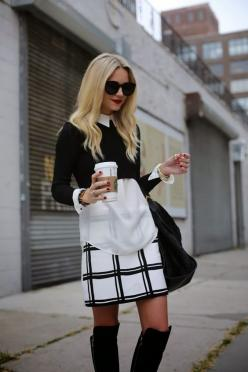 "How to Wear: Crop Tops ""cropped sweater with a crisp button-down shirt underneath"" Best Look ever for veiled or un-veiled; flat abs or not :): Fashion, Crop Tops, Black And White, Street Style, Dress, White Outfit, Black White, Cropped Sweater, Fa"