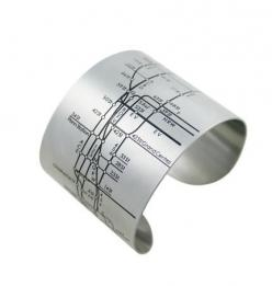 NYC Metro Cuffs feature black embossed lines, streets, and numbers of the notorious New York City subway system.  By design hype.