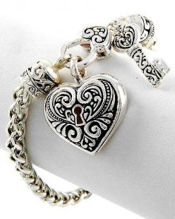 Silver and black heart lock and key bracelet.  Valentines Day gift idea.