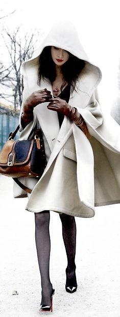 Street Style | Winter Cape (Assassins Creed inspired?? i am such a bloody nerd...) | More outfits like this on the Stylekick app! Download at http://app.stylekick.com: Jacket, Fashion, Capes, Street Style, Winter White, Outfit, Winter Coats, Cape Coat
