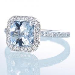 14K White Gold Cushion Cut Aquamarine Diamond Halo by samnsue, $950.00 <3