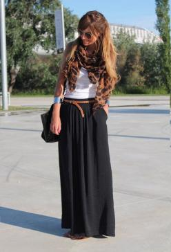 Black dress as maxi skirt +small brown belt + white tank + colorful scarf= great sightseeing outfit (can cover shoulders in churches): Style, Leopard Scarf, Maxiskirt, Outfit, Black Maxi Skirts