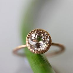 Emerald and rose gold ring. Turkey c1975.: 14K Emerald, Rose Gold