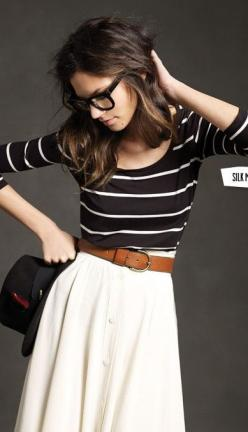 stripes + skirt + belt.