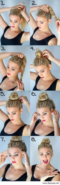 Bun, for medium hair...she makes it look so simple, because it is! Anyone can do this hairstyle, it's great for when you are in a rush. #bun #mediumhair #tutorial