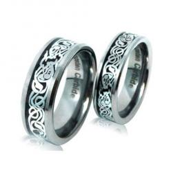 cool His & Her's 8mm/6mm the Celtic Loved Design Tungsten Carbide Wedding Band Ring Set ,Sizes 5-13 Including Half Sizes Please E-mail Sizes