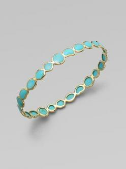 From Ippolita's Polished Rock Candy Collection. Richly colored, distinctively veined turquoise in a range of geometric shapes, each framed in polished gold.: Ringss, Style, Wedding Band, Turquoise Rings, Turquoise Bracelet