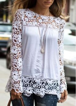 Glamorous Lace Patchwork White Long Sleeve T Shirt - USD $23.92