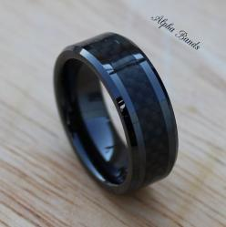 Hey, I found this really awesome Etsy listing at https://www.etsy.com/listing/190934463/black-ceramic-carbon-fiber-tungsten-mens