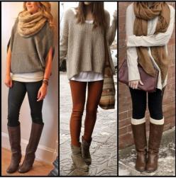 Layering w/ Oversized Sweaters and Leggings - Casual wear. Love the one on the left!