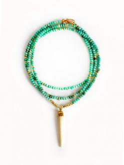 MINT TURQUOISE white buffalo horn necklace