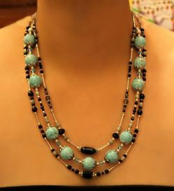 MultiStrand Turquoise Necklace by TheHighStrungBead on Etsy