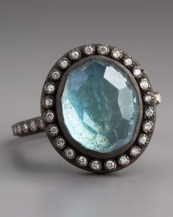 """Oval-cut blue labradorite.  Pave white diamonds set in """"Midnight"""" oxidized sterling silver adorn setting and thin band.  Pave white diamonds; 0.22 total carat weight. Armenta"""