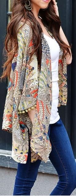 peacock kimono - print and colors are a nice way to add interest to a simple jeans & t-shirt outfit.
