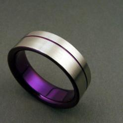 Purple and satin titanium band with purple by ZoeAndDoyle on Etsy