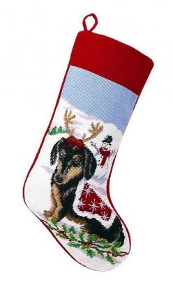 Reindeer Black Tan Dachshund Dog Christmas Stocking – For the Love Of Dogs - Shopping for a Cause