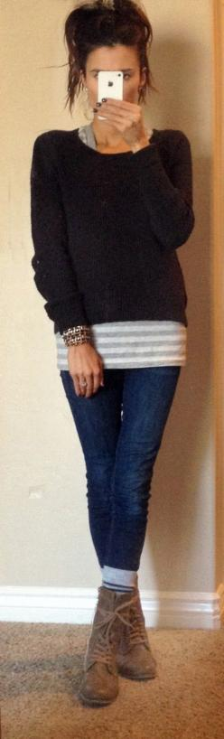 Shirt: Madwell   Sweater: Old Navy $20 (here)   Jeans: AG Jeans  Shoes: Aldo   Socks: Gap $1  Bracelet: Jcrew & F21