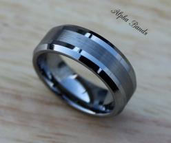 Stunning Men's Tungsten Carbide Wedding Band, 8MM, Men's Sizes 8-11, Tungsten Men's Ring on Etsy, $65.00