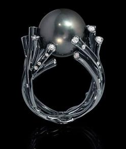 Undina Ring by Mousson || 750 Black Gold, Pearls, Diamonds