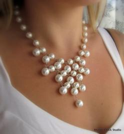 WHITNEY-White Glass Pearl Bib Style Necklace 46 shiny, smooth white glass pearls that I have linked together with sterling silver head pins into this funky design. The necklace measures approx 16 inches with a 1 inch extender chain and closed with a lobst