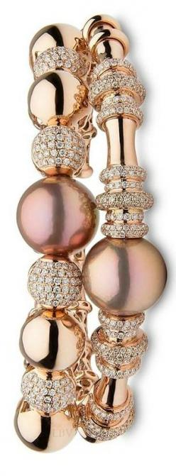 Yoko London ♥✤ 18KT rose gold bangles with natural colour pink Freshwater pearls and diamonds.