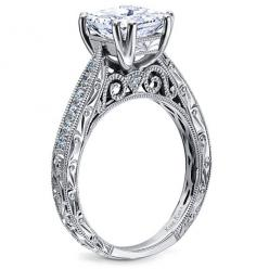 Kirk Kara hand engraved engagement ring from the Stella collection | Detailed engagement ring | Princess cut engagement ring | classic engagement ring | vintage engagement ring
