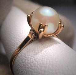 ON HOLD Antique Pearl Wedding Ring Victorian by AawsombleiJewelry - pearl engagement ring