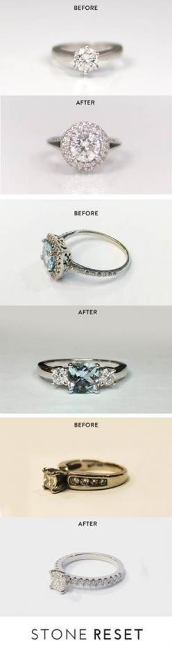 """Our halo resetter shared his story, """"When I proposed, I had a very simple setting and I promised my wife she could pick out whatever setting she wanted. Fast forward 10 years later, we never got around to upgrading her setting, and coincidentally her"""