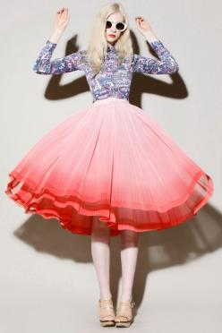 Vintage 1950s Pink Ombré pleated full circle skirt: http://thriftedandmodern.com/vintage-1950s-pink-ombr%C3%A9-pleat-skirt