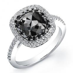 White Gold 2 ct Cushion Black Diamond Ring ( i really like the look of a black diamond engagement ring )