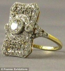 A platinum, 18 carat gold and diamond ring that most probably belonged to one of the Titanics first class passengers.