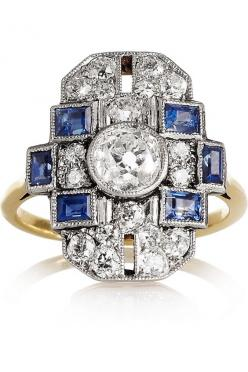 Embellished Opulence: we're taking 'more is more' as our fashion directive for fall. Heirlooms | Art Deco 18-karat gold platinum, diamond and sapphire ring.