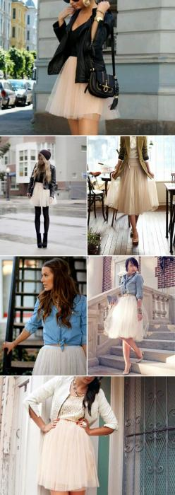 Tulle skirts! Clothes Casual Outift for • teens • movies • girls • women •. summer • fall • spring • winter • outfit ideas • dates • parties Polyvore :) Catalina Christiano Whites