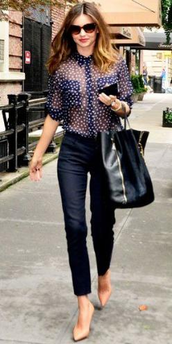 38 Top Street style Recreate with @Charlotte Willner Willner Carnevale Willner Anne Clothing Bubbles Blouse and Pique Cropped Pant!: Miranda Kerr, Mirandakerr, Polka Dots, Casual Chic, Fashion Style, Street Style, Outfit, Street Styles, Nude Heels