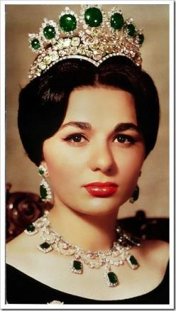 """Farah Diba wearing the Seven Emeralds Tiara. """"royal tiaras and crowns   ... Crown Prince Frederik's wife Crown Princess Mary now owns the tiara"""" As far as I know the Seven Emeralds tiara is still in the Central Bank of Iran, where I believe it is"""