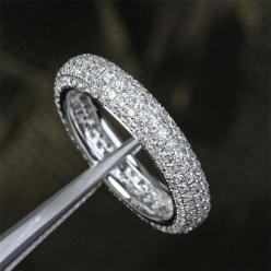 Pave 1.55ctw Diamond -Solid 14K White Gold Engagement Wedding Full Eternity Anniversary Band Ring on Etsy, $799.00