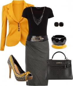"""""""Pencil: Grey, Black & Mustard"""" by heather-rolin ❤ liked on Polyvore"""