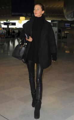 All Black Everything! #StyleChat #Style: All Black, Kristin Cavallari, Black Leather, Street Style, Outfit, Leather Pants, Leather Leggings, Fall Winter