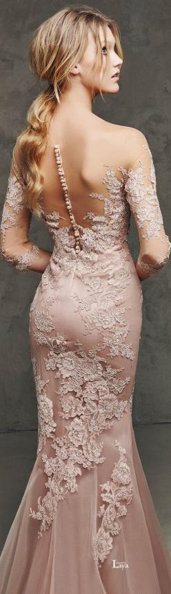 Blush Lace with Dramatic Back detail. Pronovias 2016. | blush wedding | www.endorajewellery.etsy.com