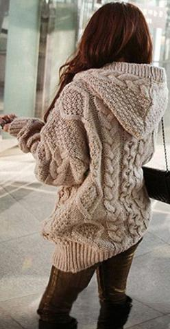 Comfy Cable Knit Hooded Cardigan: