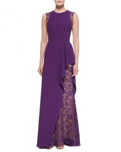 Elie Saab Lace-Inset Ruffled Gown