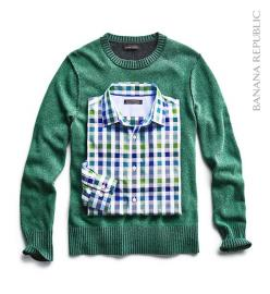 Gift for him: This holiday season, give him a cozy sweater he's sure to love, and pair a coordinating button down. This hunter green Italian wool crew pullover (available in multiple colors) was made just for him at Filpucci, an artisanal Italian mill, an