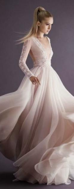 Paolo Sebastian ~ Couture feminine, soft, dreamy, Open Back Bridal Gown w Sleeve+Bodice Lace details, 2014
