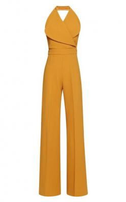 Very retro pair with a big hat and some sandals. W Jumpsuit by Emilia Wickstead for Preorder on Moda Operandi