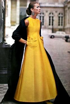 Vogue Pattern Book April-May 1969  A fabulous, princess seamed ball gown in yellow silk by Jean Patou
