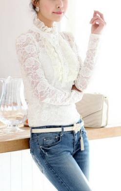 White See-through Stand Collar Long Sleeves Lace Blouse