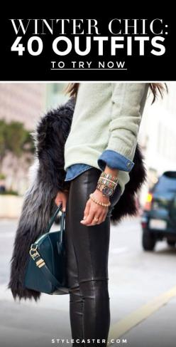 Winter Outfit Idea: All it takes is a pair of leather (or faux) leggings, a denim shirt and your favorite sweater. From there, pile on the bracelets, grab your favorite structured bag and top it off with a cool fur coat. Perfect daytime outfit!: Outfit Id